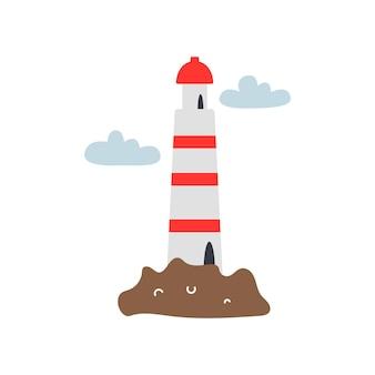 Faro en una isla con nubes sobre fondo blanco. ilustración de vector de estilo plano