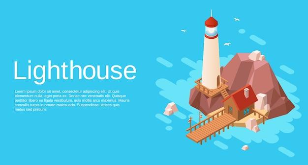 Faro en la isla rocosa del acantilado de piedra con la casa de madera y el embarcadero en el mar azul