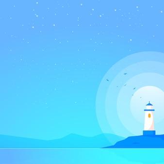 Faro mar hermosa noche ilustración vectorial