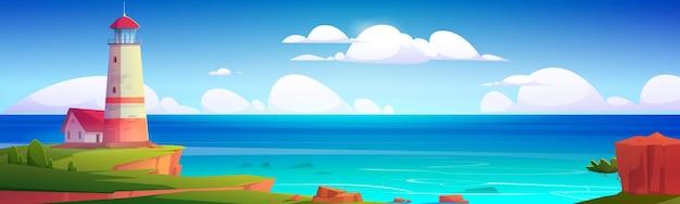 Faro en el paisaje de la costa del mar