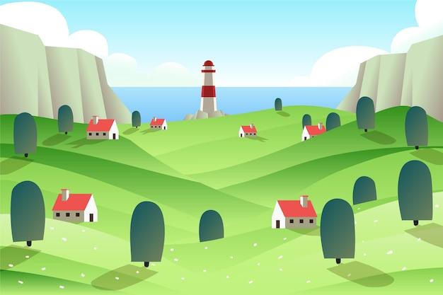 Faro y pequeño pueblo paisaje de primavera