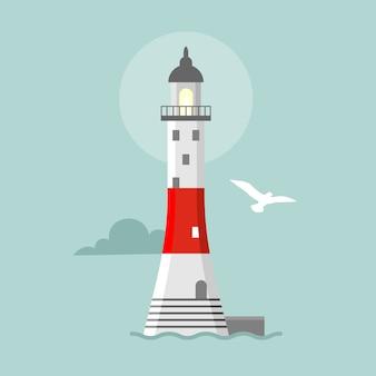 Faro plano. paisaje de dibujos animados. torres de reflectores para guía de navegación marítima