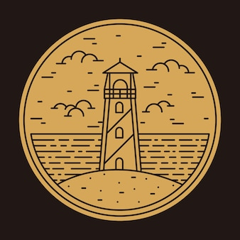 Faro playa mar naturaleza insignia parche pin ilustración gráfica