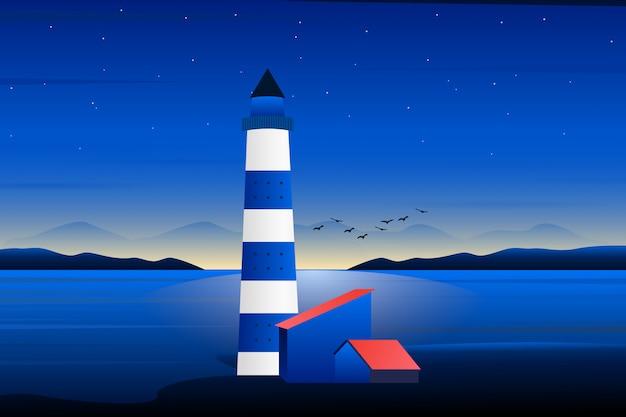 Faro con la puesta de sol de noche y la ilustración de paisaje de cielo púrpura