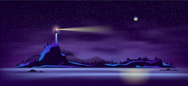 Faro solo en vector de dibujos animados de costa rocosa