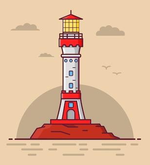 Faro de la torre a la orilla del mar.