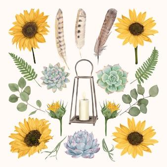 Farol vintage con flores y plumas