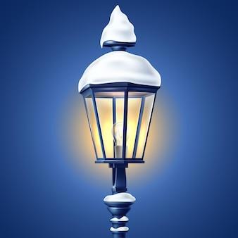 Farola brillante realista en la noche con ilustración 3d de casquetes de nieve