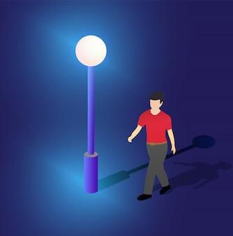 Farola de neón ultravioleta isométrica ilustración 3d