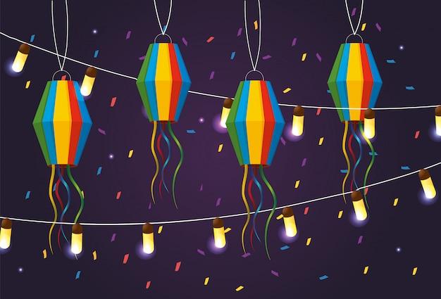 Faroles con luces colgantes a festa junina.