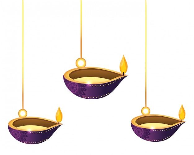 Farolillos velas de aceite colgando