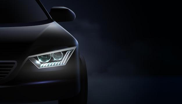 Faros de automóviles realistas composición ad y faros con iluminación verde y violeta
