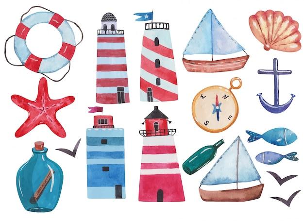 Faros de colección náutica, salvavidas, botella de mensaje, ilustración acuarela de pescado sobre fondo blanco.