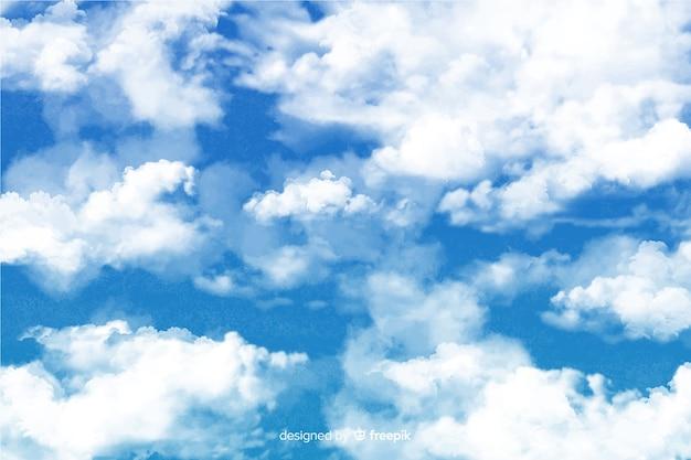 Fascinante fondo de nubes de acuarela