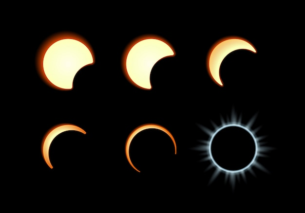 Fase del eclipse solar. la luna cubre el disco solar.