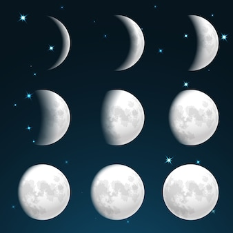 Fases de la luna en el cielo estrellado.