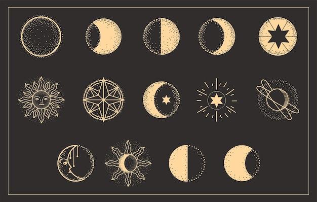 Fases de la luna conjunto de astrología del universo.