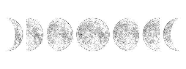 Fases de la luna dibujadas a mano monocromo