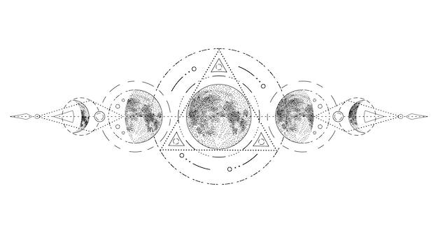 Fases de la luna mágica con geometría sagrada.