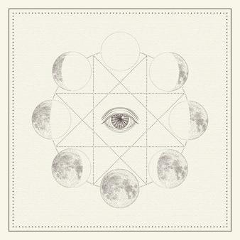 Fases de la luna con ojo que todo lo ve y geometría sagrada