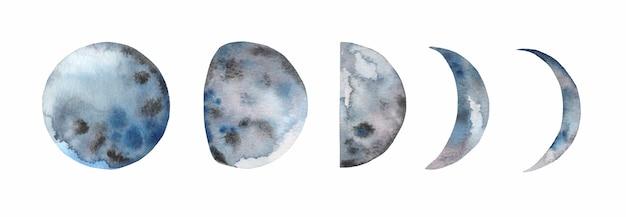 Fases lunares de acuarela pintadas a mano.