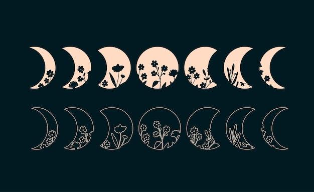 Fases lunares con fases florales bohemias de la ilustración de la luna silueta y contorno