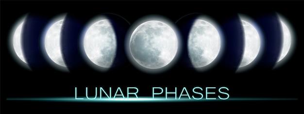 Fases lunares realistas. todo el ciclo desde la luna nueva hasta la luna llena.