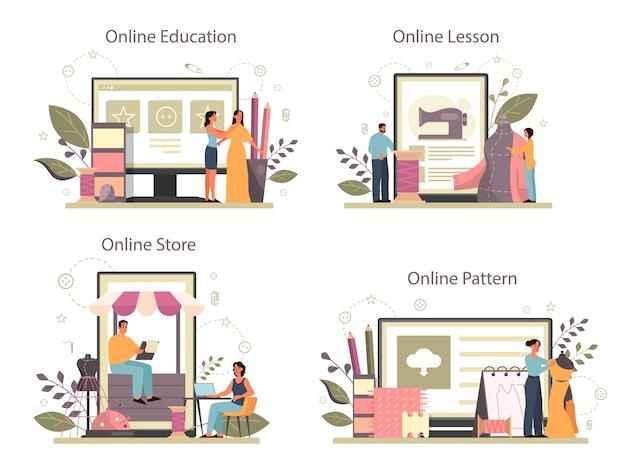 Fashioner o sastre, servicio en línea o conjunto de plataformas. maestro profesional de costura de ropa. modista trabajando en máquina de coser eléctrica. tienda y educación online.