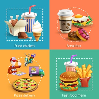 Fastfood 4 cartoon icons square composición
