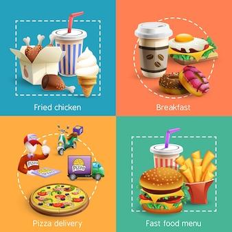 Fastfood 4 cartoon icons square composición