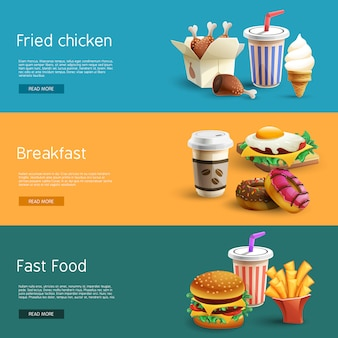 Fastfood options pictograms 3 banners horizontales
