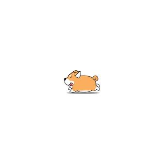 Fat shiba inu dog corriendo icono de dibujos animados