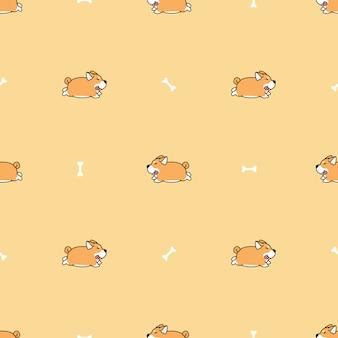 Fat shiba inu perro corriendo de dibujos animados de patrones sin fisuras