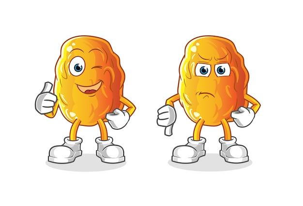 Fecha amarilla pulgares arriba y pulgares abajo mascota de dibujos animados
