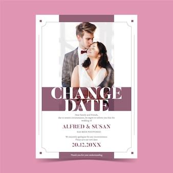 Fecha de cambio de anuncio de boda pospuesto