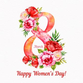 Fecha floral de la acuarela del día de las mujeres