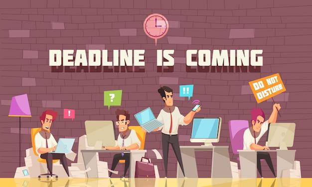 La fecha límite se acerca con gente de negocios ocupada con trabajo urgente y lluvia de ideas