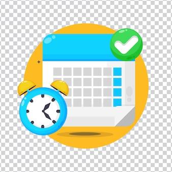 Fecha límite del calendario con cheque y reloj sobre fondo blanco