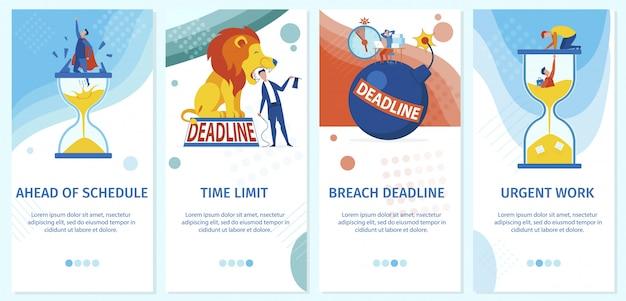 Fecha límite de carga de trabajo de dibujos animados, límite de tiempo de trabajo urgente