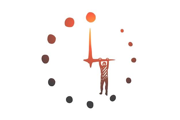 Fecha límite comercial, tiempo, reloj, hora, concepto de temporizador. reloj dibujado a mano con fecha límite, boceto de concepto de trabajador de oficina.