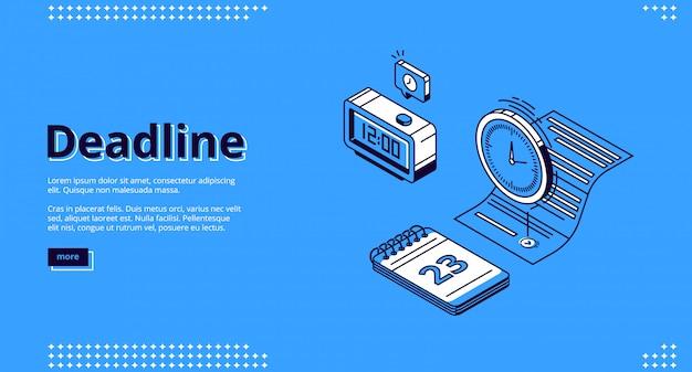Fecha límite, página de inicio isométrica de gestión del tiempo