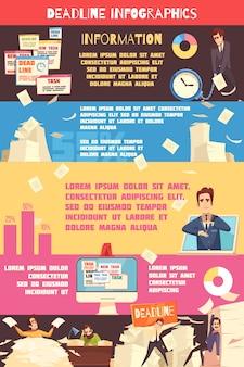 Fecha límite presión dibujos animados infografía