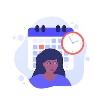 Fecha límite en el trabajo, gestión del tiempo, ilustración vectorial con una mujer