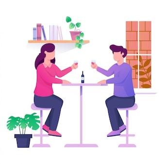 Fecha con novia y amigo en la ilustración de café