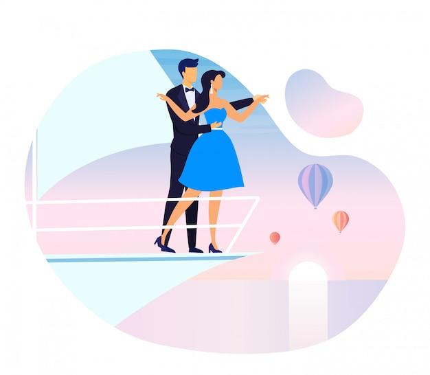 Fecha romántica en el barco de placer ilustración vectorial