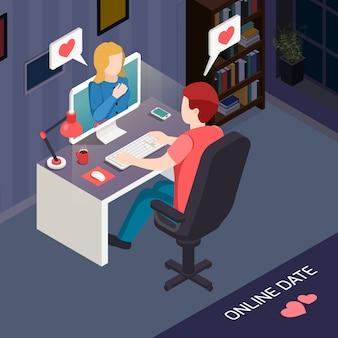 Fecha romántica composición isométrica en línea