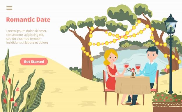 Fecha romántica encantadora pareja página web de aterrizaje, concepto banner sitio web plantilla de dibujos animados ilustración. amante masculino femenino sentarse restaurante.