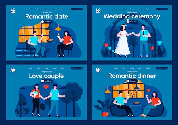 Fecha romántica planas páginas de aterrizaje establecidas. relaciones de novio y novia, escenas del día de san valentín para el sitio web o la página web de cms. amor pareja, cena romántica y ceremonia de boda ilustración