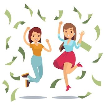 Felices amas de casa exitosas en la lluvia de dinero. feliz saltando mujeres y dinero