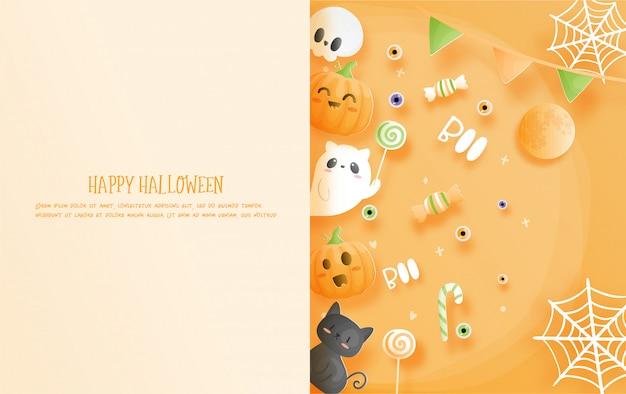 Felices celebraciones de halloween en estilo de corte de papel.